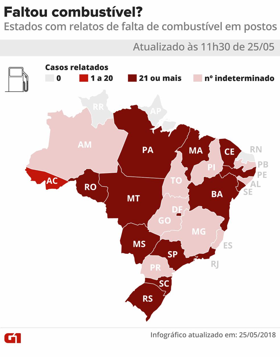 11h30: Mapa de estados onde há relatos de postos sem combustível (Foto: Foto: Juliane Souza e Karina Almeida/G1)
