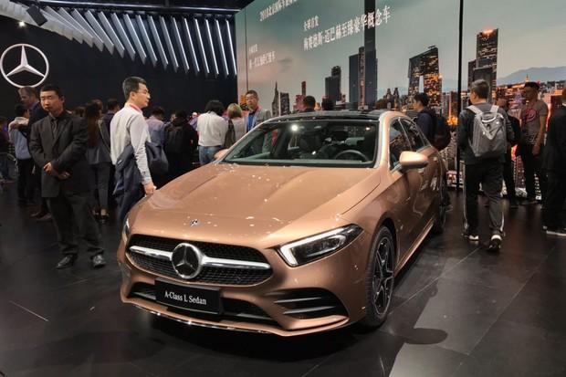 Mercedes-Benz exibiu o inédito Classe A sedã no Salão de Pequim (Foto: Gabriel Aguiar/Autoesporte)