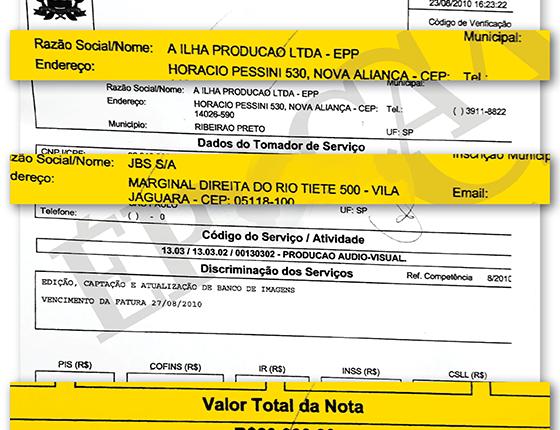 Nota fiscal da Ilha Produção para a JBS, no valor de R$ 80 mil (Foto: Reprodução)