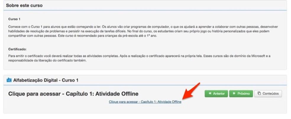 Ação para abrir uma lição no site Brasil Mais Digital — Foto: Reprodução/Marvin Costa
