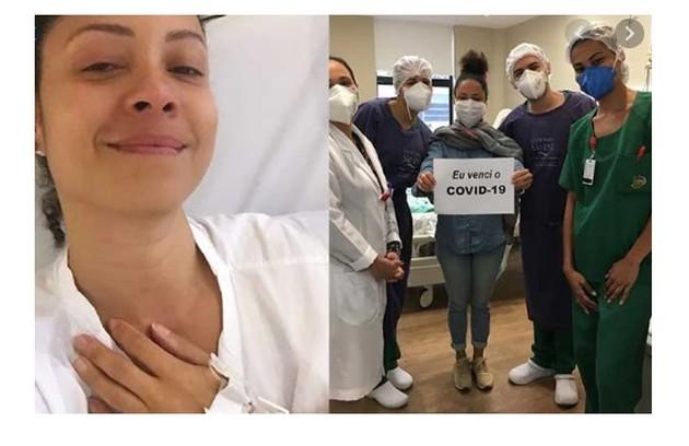 Cinara Leal, que está em 'Flor do Caribe', comemorou a recuperação com profissionais da saúde (Foto: Reprodução/Instagram)