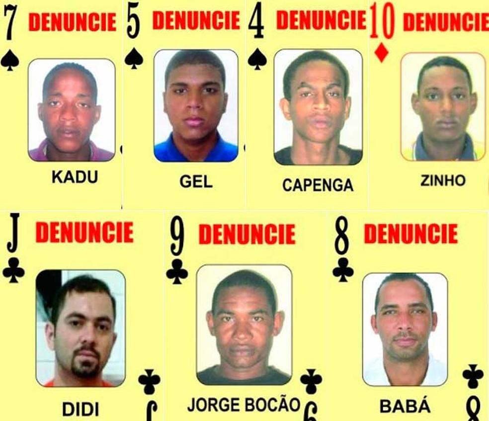 Sete procurados pela polícia são adicionados ao 'Baralho do Crime' da Bahia (Foto: Divulgação/SSP-BA)