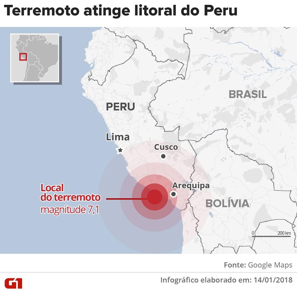 -  Mapa mostra onde ocorreu o terremoto de magnitude 7,1 que atingiu o Peru neste domingo  14   Foto: Editoria de arte G1