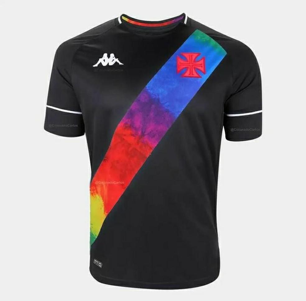 Camisa preta do Vasco em homenagem ao movimento LGBTQIA+ — Foto: Reprodução
