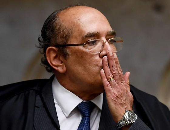 Gilmar Mendes durante o julgamento no STF, em 4 de abril, que negou habeas corpus para Lula. O ministro votou a favor do ex-presidente (Foto: EVARISTO SA/AFP PHOTO)