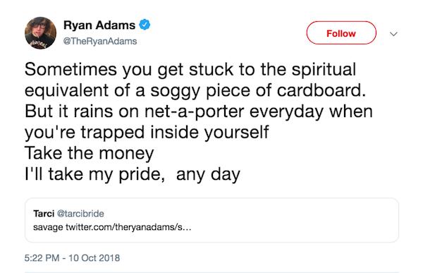 Um dos tuítes de Ryan Adams lamentando seu casamento com Mandy Moore (Foto: Twitter)