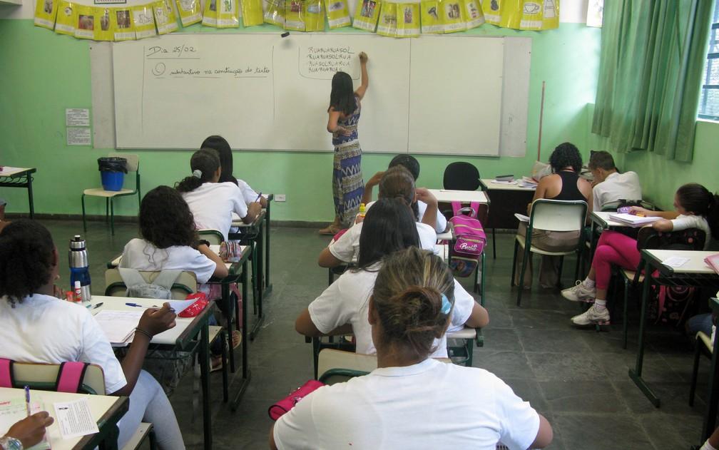 Sala de aula em uma escola municipal de São Paulo — Foto: Ana Carolina Moreno/G1