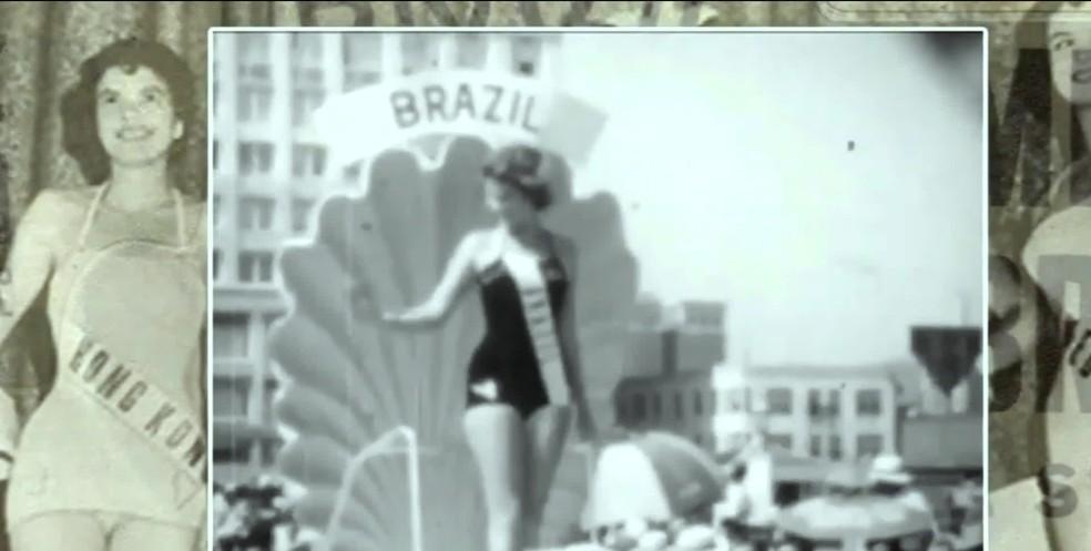 Martha Rocha foi Miss Brasil em 1954 e desfilou em cima de carro — Foto: Reprodução/GloboNews