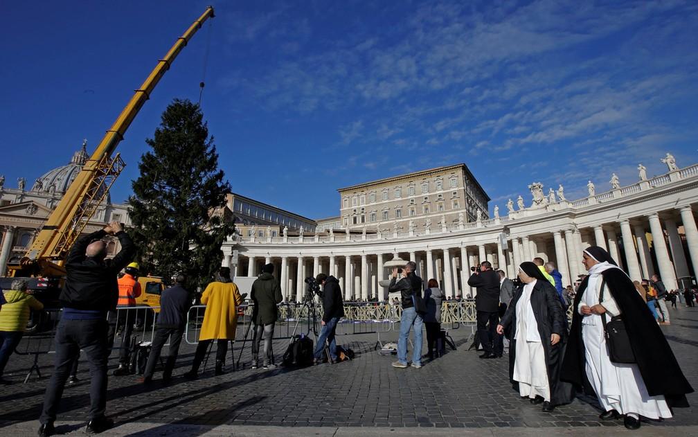Freiras observam enquanto a árvore de Natal do Vaticano é erguida por um guindaste na Praça São Pedro, na quinta-feira (23) (Foto: Reuters/Max Rossi)