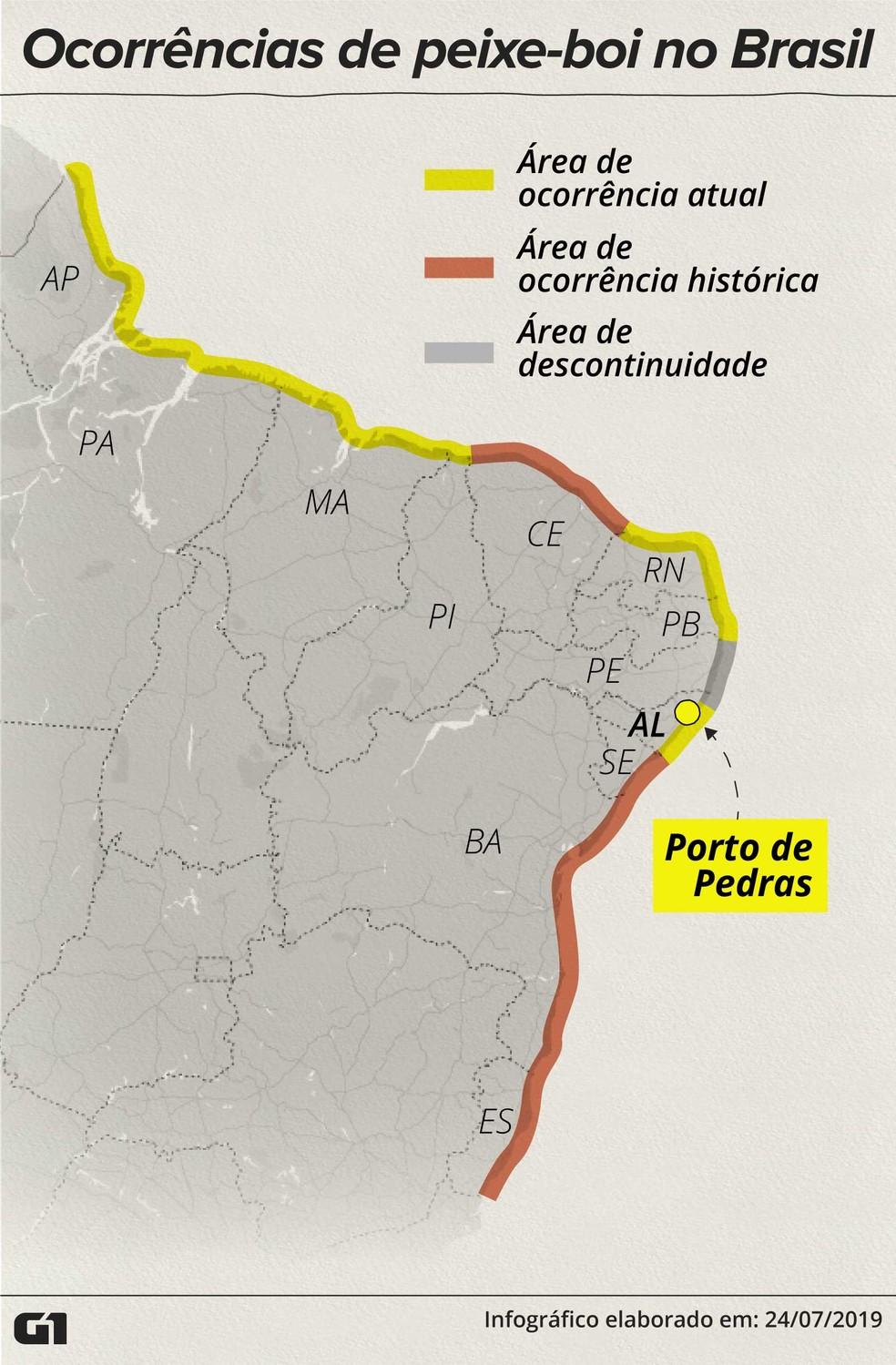 Estados de ocorrência do peixe-boi no Brasil — Foto: Rodrigo Sanches/G1