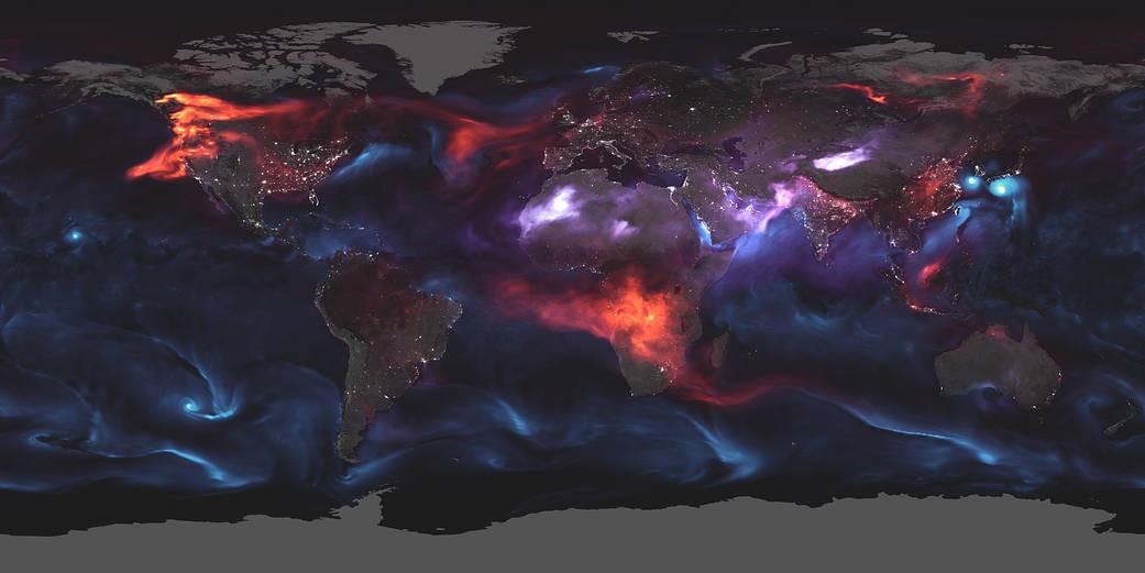 Visualização da NASA mostra aerossóis na atmosfera da Terra (Foto: NASA/Joshua Stevens/Adam Voiland)
