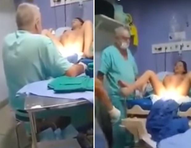 Imagens mostram médico agredindo grávida em trabalho de parto (Foto: Reprodução )