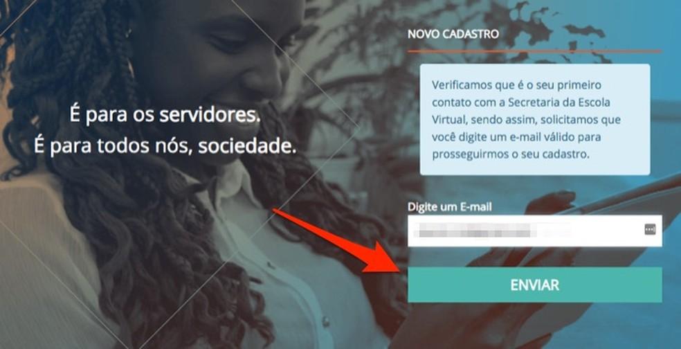 Ação para iniciar o cadastro de novo usuário na Escola Virtual do Governo Federal — Foto: Reprodução/Marvin Costa