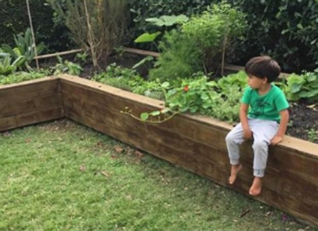 João, caçula de Márcio e Andréa, na horta de casa (Foto: Reprodução/Instagram)