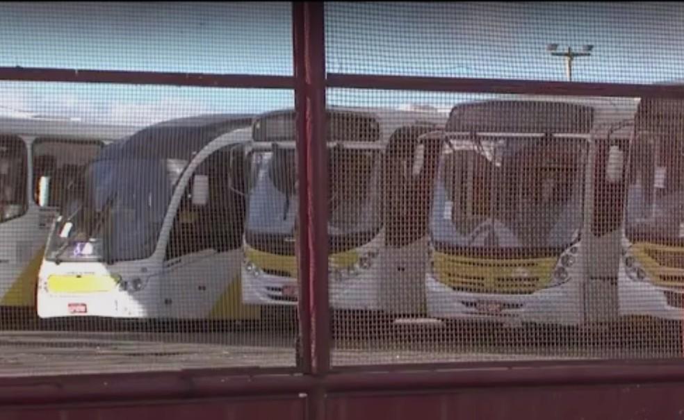 Ônibus foram retidos após vistoria (Foto: Reprodução/TV Sudoeste)