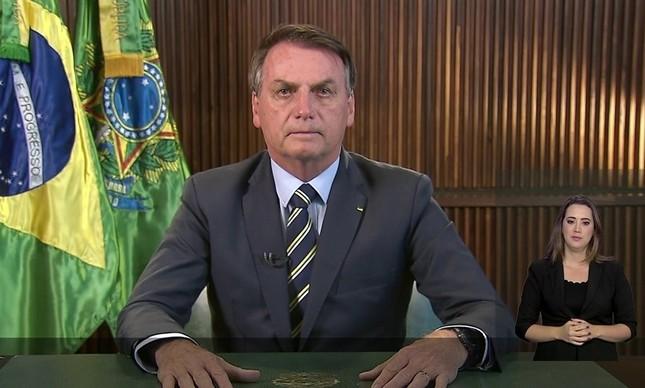 O presidente Jair Bolsonaro em pronunciamento sobre o coronavírus