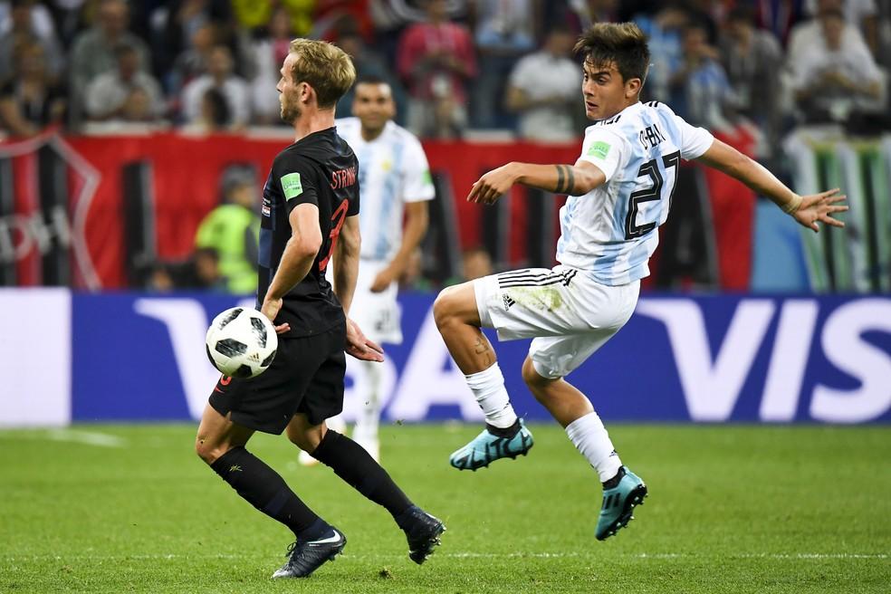 Dybala, em seu único jogo pela Argentina na Copa do Mundo: a derrota para a Croácia — Foto: Andrew Surma/NurPhoto via Getty Images