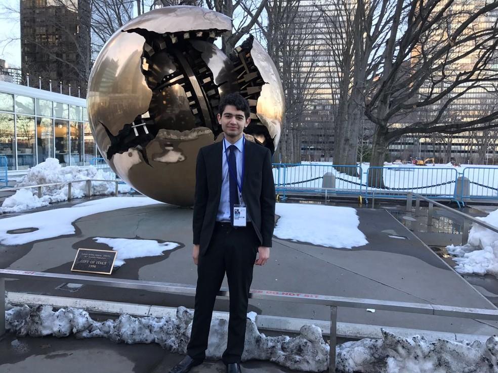 Pedro Paulino durante visita na ONU em março de 2017 (Foto: Arquivo pessoal)