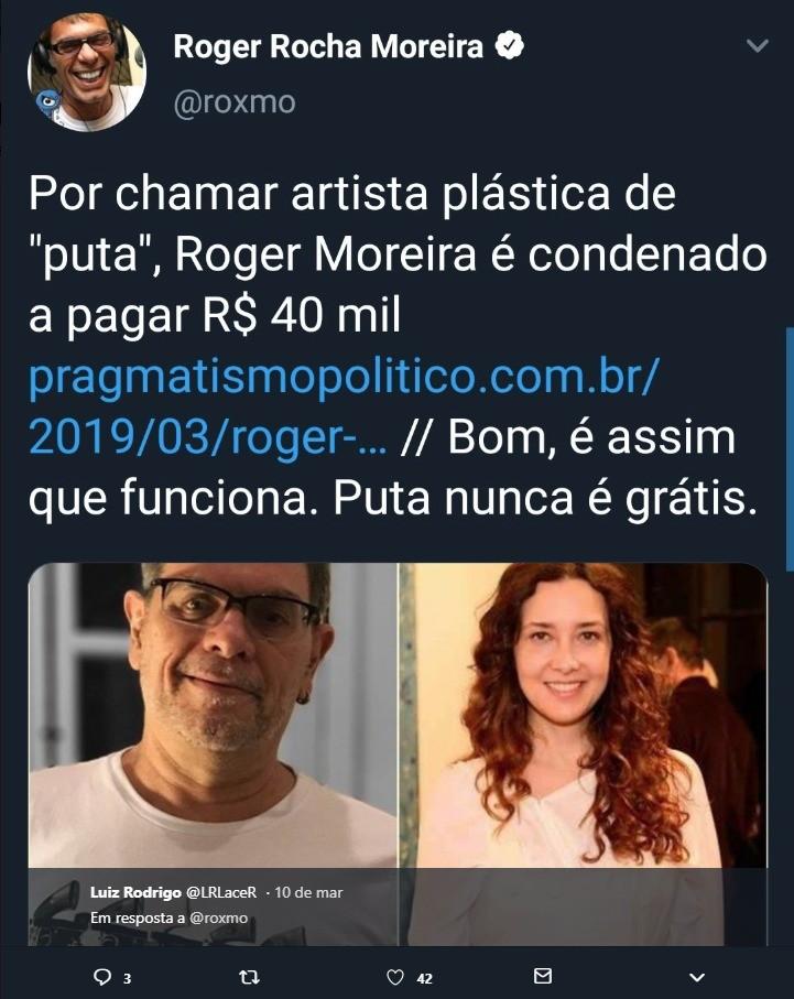 O tuíte apagado de Roger Moreira