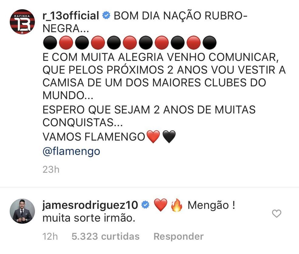 """James Rodríguez comentou em post de Rafinha e escreveu """"Mengão"""" — Foto: Reprodução"""