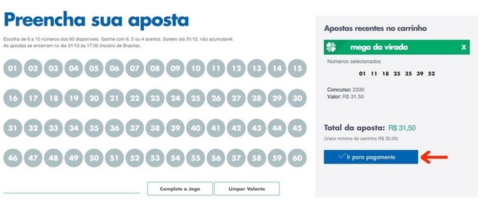 Botão para pagamento das apostas na Mega da Virada  — Foto: Reprodução/Raquel Freire