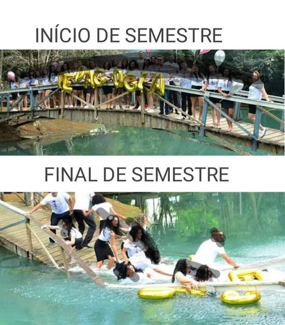 Vários memes foram feitos sobre a queda da passarela — Foto: Facebook/Reprodução