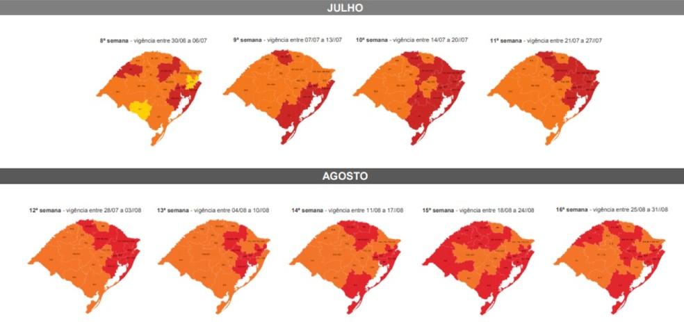Mapa do distanciamento controlado no RS de julho e agosto — Foto: Governo do RS/Divulgação