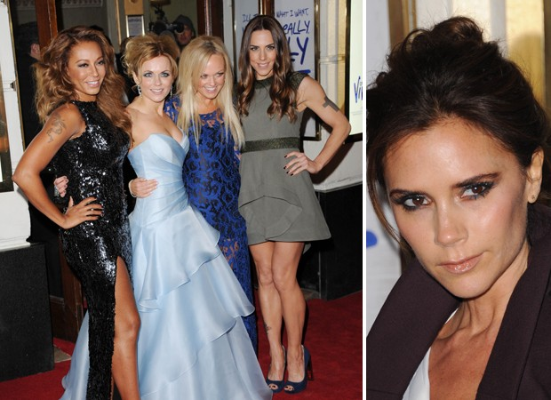 Mel B, Geri Halliwell, Emma Bunton e Melanie C; Victoria Beckham  (Foto: Getty Images)