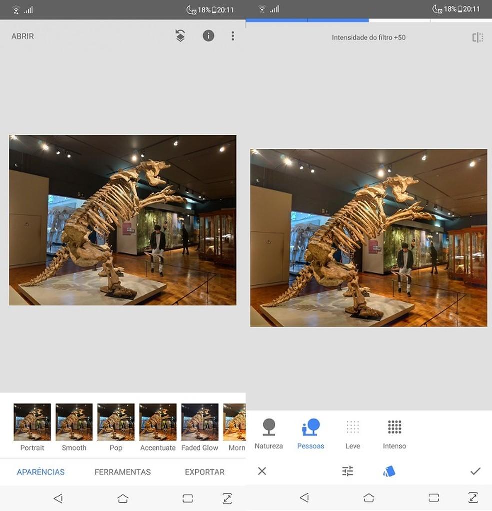 App do Google tem ajustes manuais e automáticos para aprimorar imagens — Foto: Fernando Telles/TechTudo