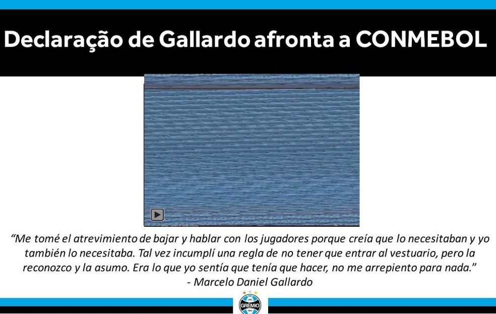 Tricolor cita entrevista de Marcelo Gallardo para justificar pleito — Foto: reprodução