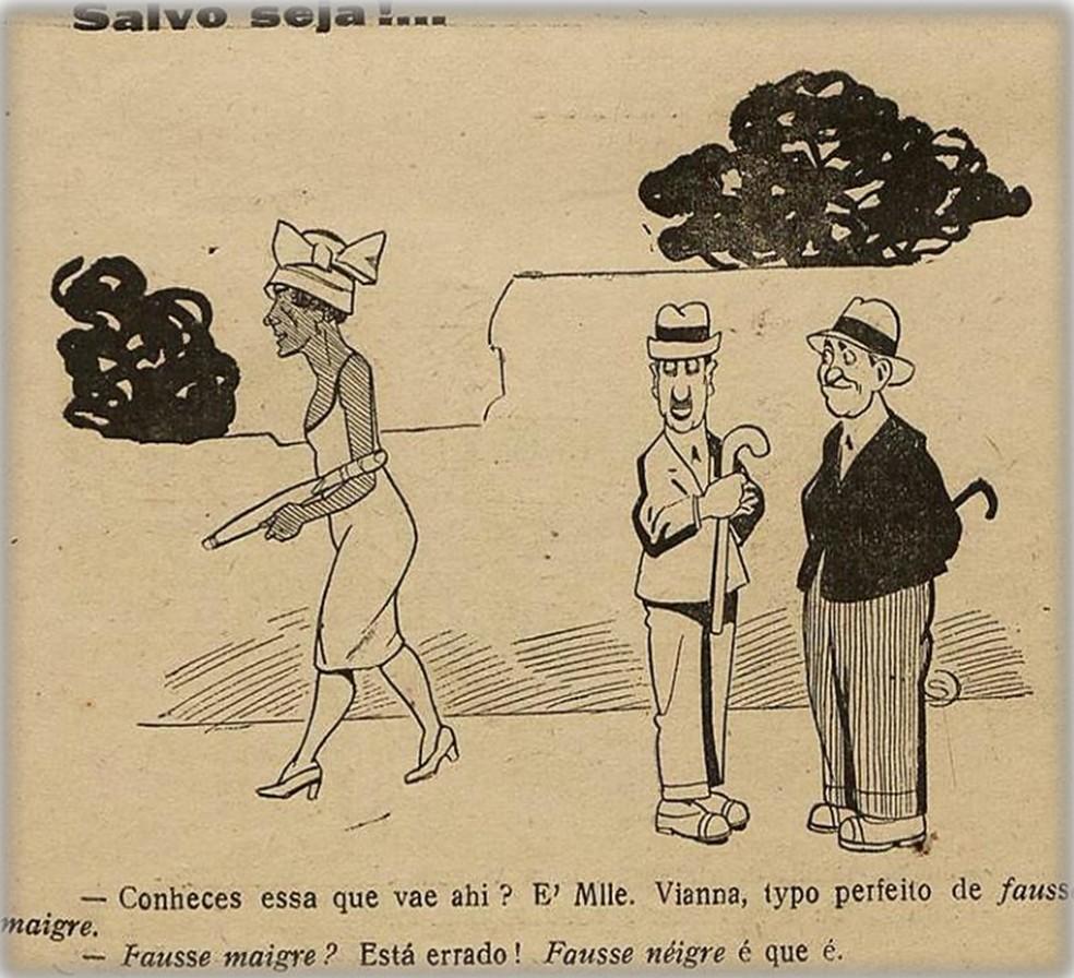 Edição de janeiro de 1926 da revista D. Quixote traz charge que mostra homens comemorando a 'mulata' e a miscigenação — Foto: Biblioteca Nacional Digital/Reprodução