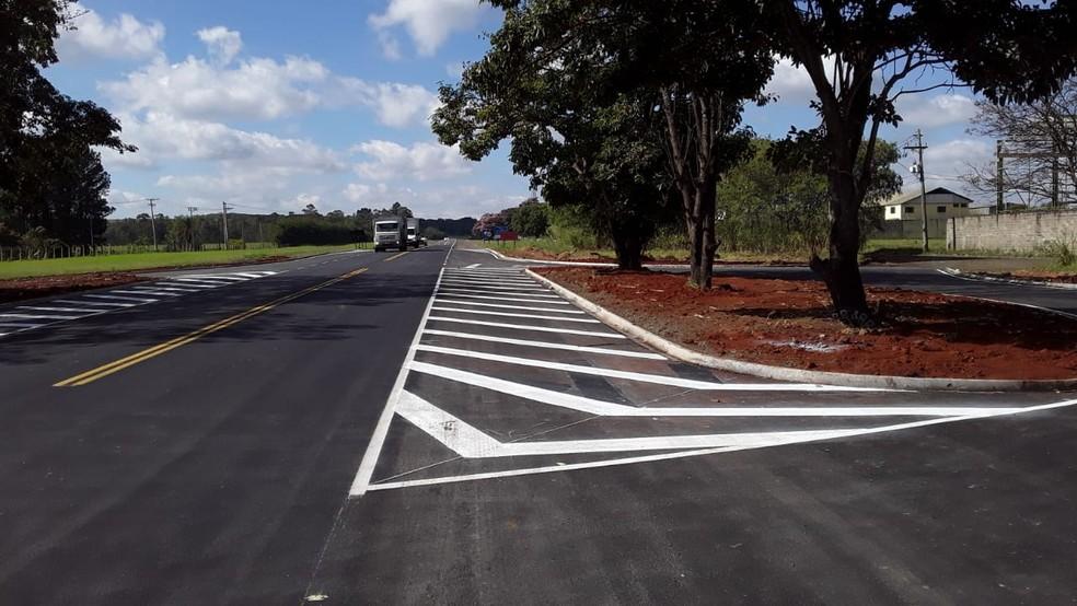 Com sinalização, Estrada da Ceagesp é concluída — Foto: Prefeitura de Piracicaba
