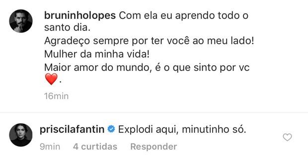 Comentário de Priscila Fantin na foto do namorado (Foto: Reprodução/Instagram)