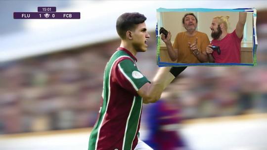 """Gol do Barcelona? Cartolouco encontra criador do """"Jogo do Século"""" entre Fluminense e Barça no Re-Meme"""