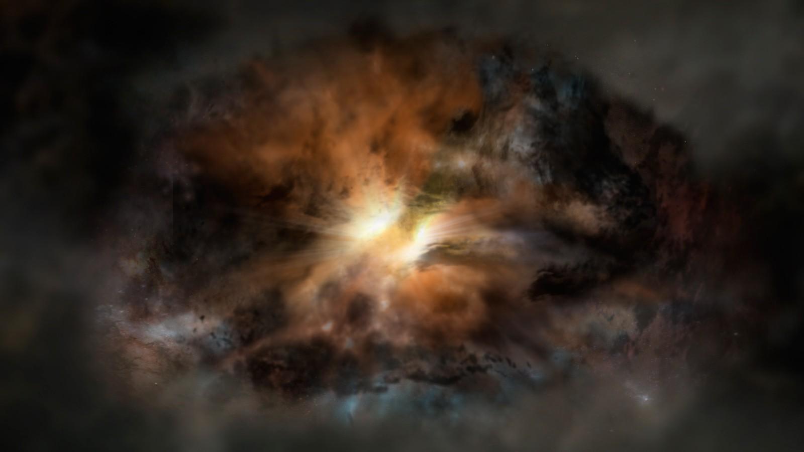 Galáxia W2246-0526, a mais luminosa do universo (Foto: NRAO/AUI/NSF; Dana Berry / SkyWorks; ALMA (ESO/NAOJ/NRAO))