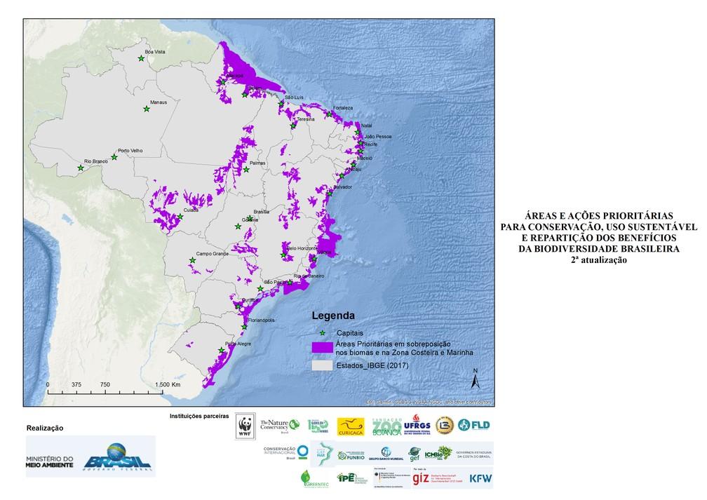 Mapa com áreas de sobreposição de biomas foi retirado do site do Ministério do Meio Ambiente — Foto: Divulgação