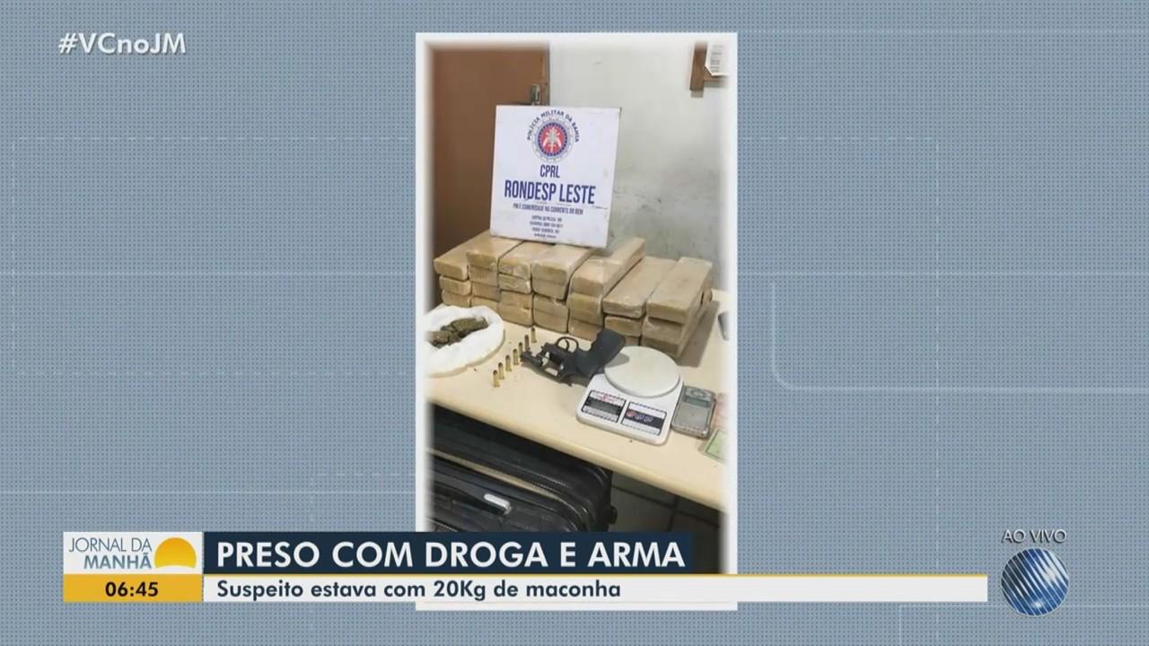 Homem é preso com revólver e 20 quilos de maconha prensada em São Gonçalo dos Campos