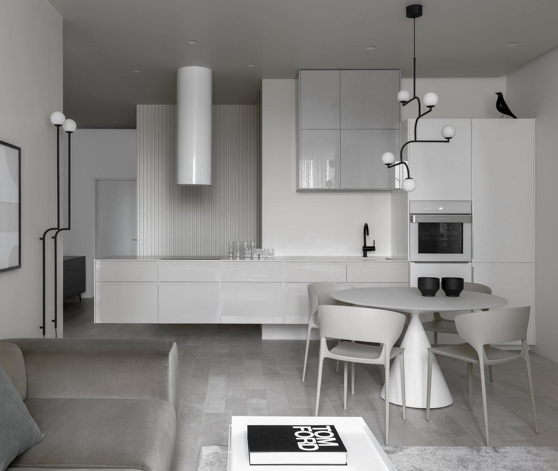 Décor do dia: cozinha branca integrada e minimalista (Foto: SERGEY KRASYUK/DIVULGAÇÃO)