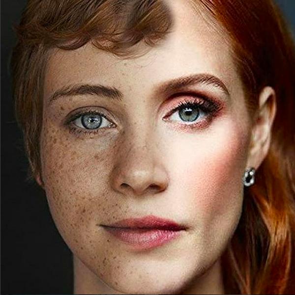 A montagem compartilhada pela atriz Jessica Chastain misturando seu rosto com o da atriz que viveu seu personagem em It: A Coisa (2017) (Foto: Instagram)