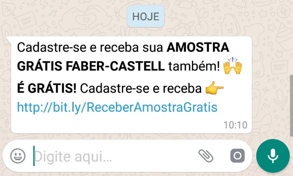 Mensagem maliciosa com falsa campanha promocional que usa a marca Faber-Castell que circula no WhatsApp — Foto: Divulgação/Kaspersky