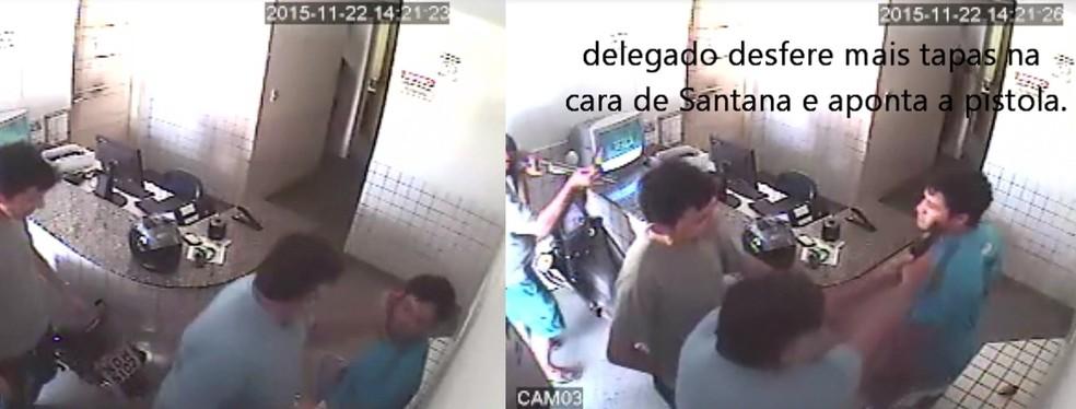 Imagens mostram momento em que o delegado agride com um tapa e depois aponta a arma para o rosto do policial — Foto: Reprodução/Vídeo