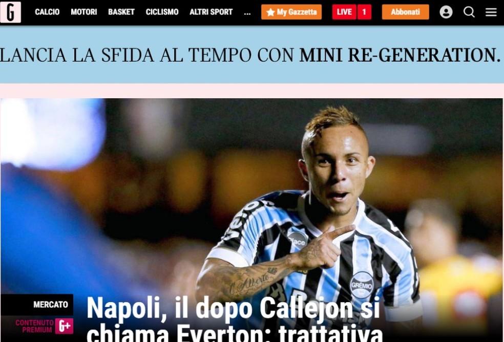 Jornal italiano volta a noticiar interesse do Napoli — Foto: Reprodução