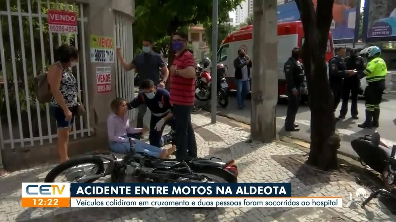 Acidente entre motos no bairro Aldeota, em Fortaleza, deixa duas pessoas feridas
