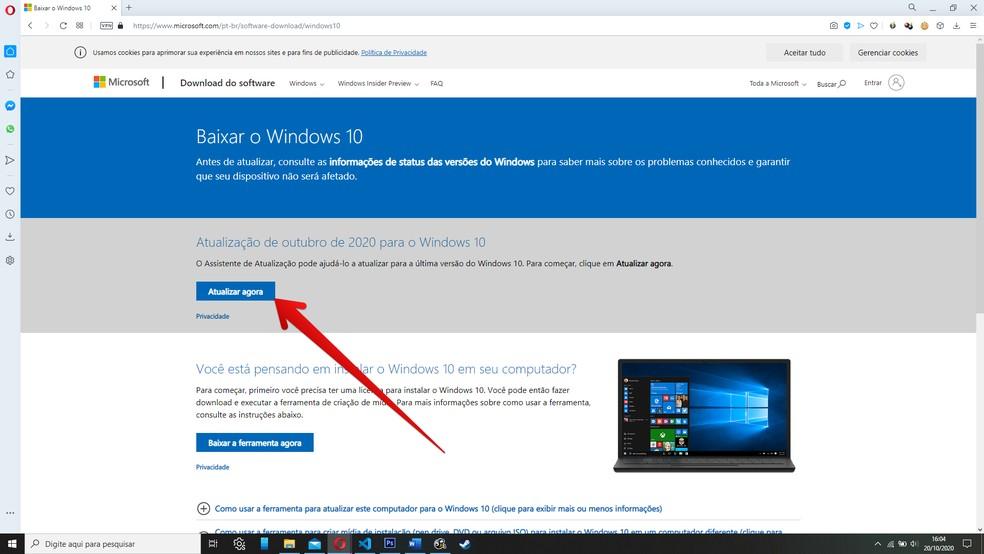 Clique para fazer download do atualizador manual do Windows 10 — Foto: Reprodução/Filipe Garrett