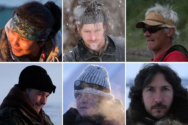 Os protagonistas de Sobrevivendo Abaixo de Zero - a partir da direita (alto): Agnes Hailstone, Jessie Holmes e Andy Bassich; (baixo): Chip Hailstone, Sue Aikens e Glenn Villeuneve (Foto: Divulgação)