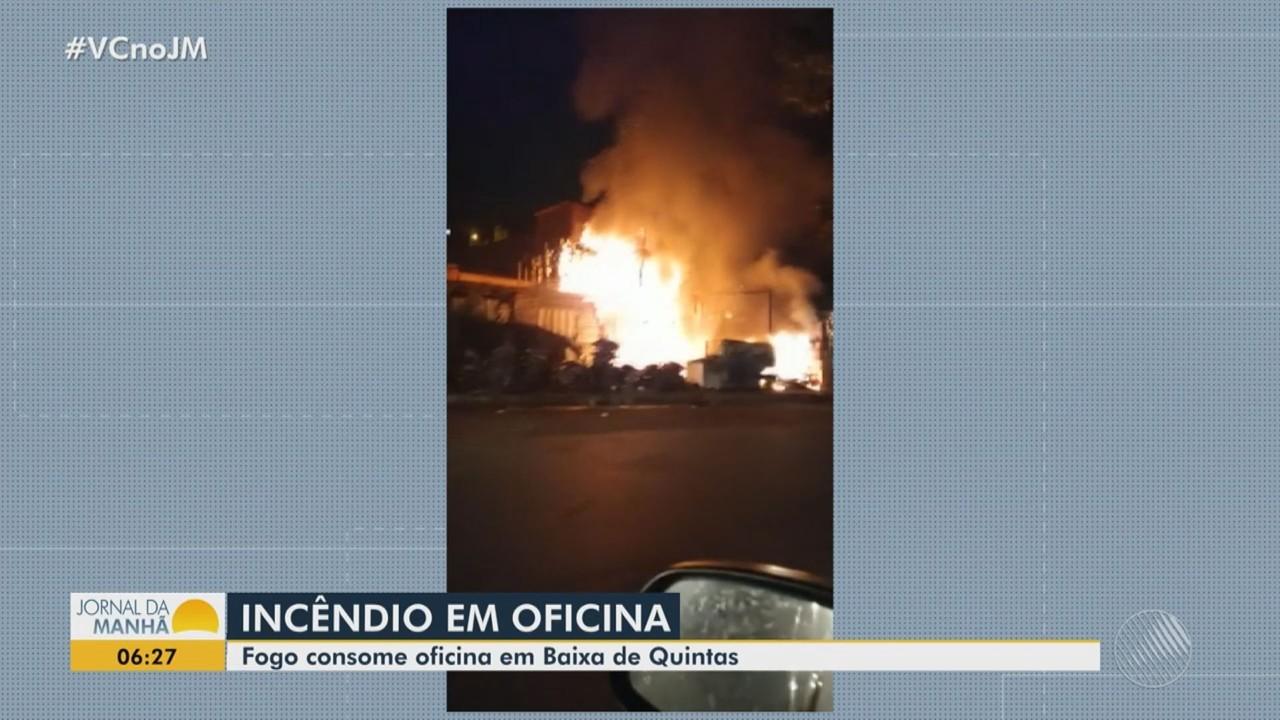 Incêndio atinge oficina no bairro de Baixa de Quintas, em Salvador