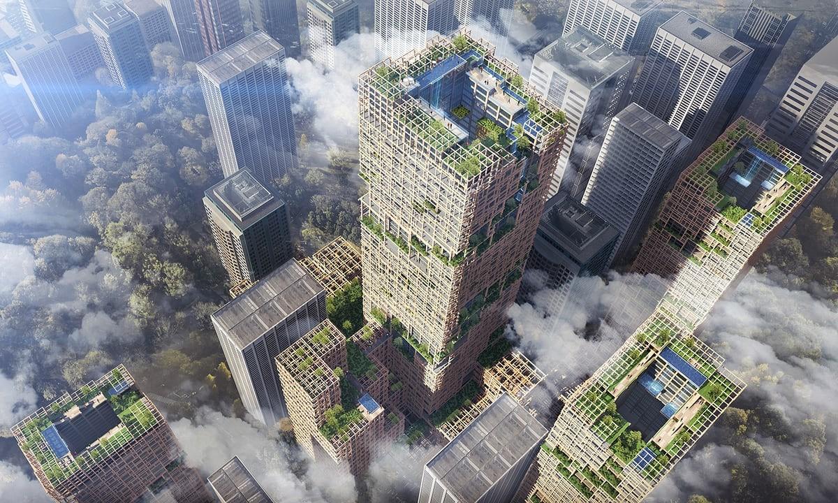 Maior prédio de madeira do mundo deve ficar pronto somente em 2042. (Foto: Sumitomo Forestry Co)