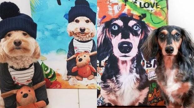 Pets ao lado dos seus quadros, feitos pela Seu Pet Art (Foto: Divulgação)