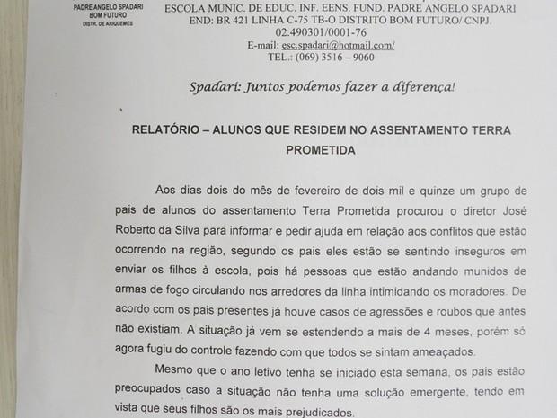 Escola emitiu documento relatando ameaças no assentamento (Foto: Franciele do Vale/ G1)
