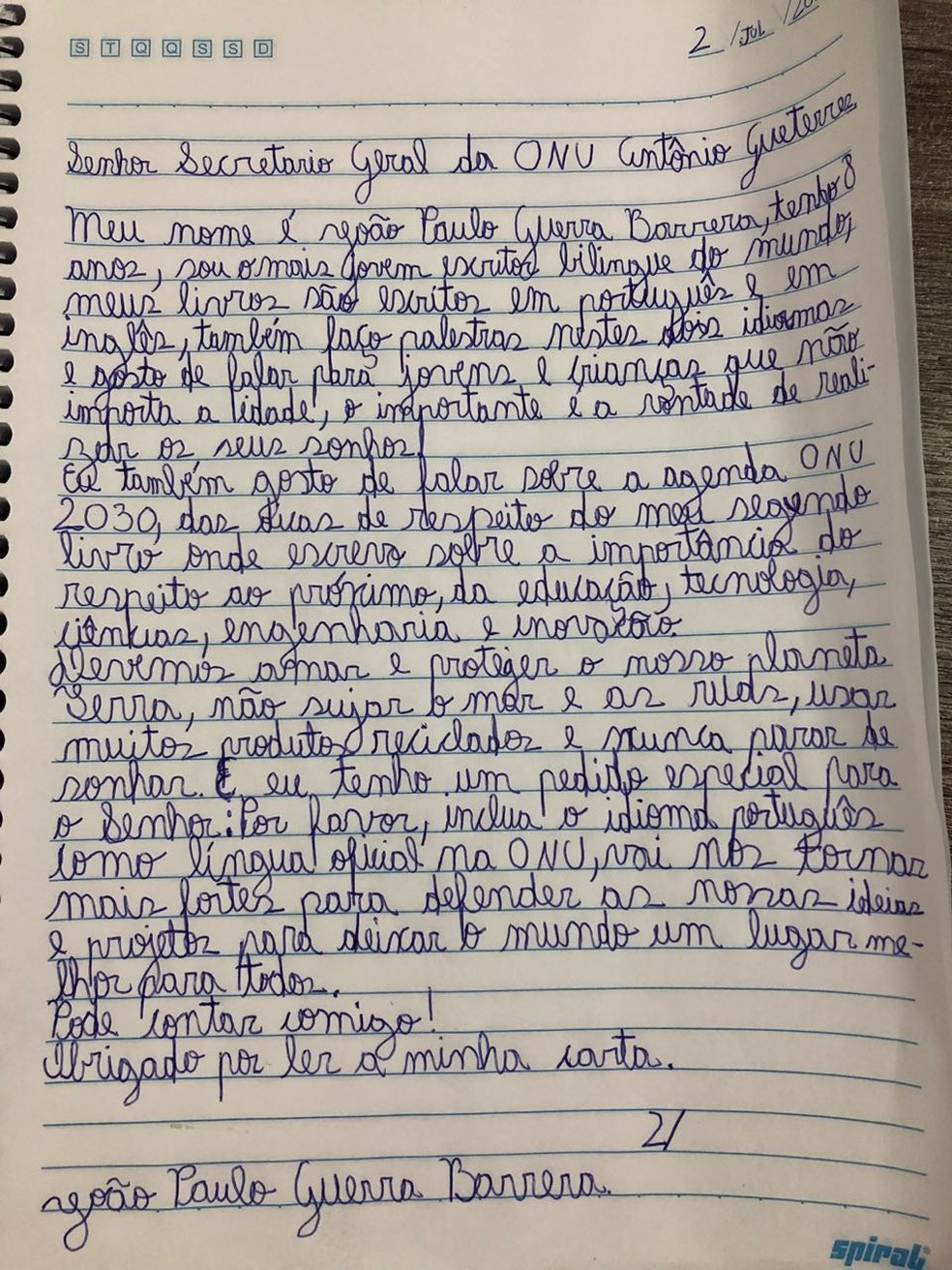 Carta do menino brasileiro João Paulo Guerra Bezerra, de oito anos, pedindo a António Guterres que inclua o português na lista de línguas oficiais da ONU (Foto: Divulgação/Fernanda Calfat)